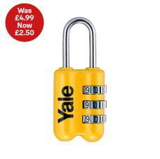 Yale Combination Padlock in Yellow - Save 50%