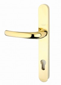 PVCu Long Backplate Door Handles - BRASS