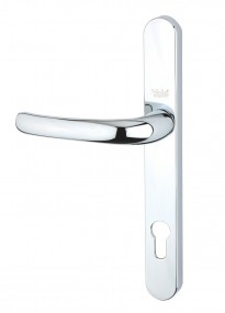 PVCu Long Backplate Door Handles - CHROME